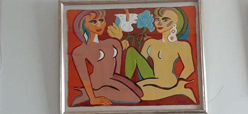Bild von Elvira Bach: 2 sitzende frauen